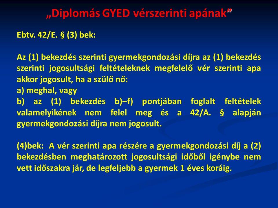 """""""Diplomás GYED vérszerinti apának Ebtv. 42/E."""