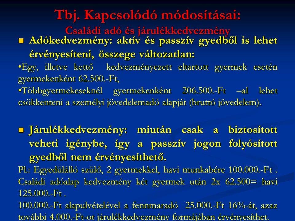 Tbj. Kapcsolódó módosításai: Családi adó és járulékkedvezmény Adókedvezmény: aktív és passzív gyedből is lehet érvényesíteni, összege változatlan: Adó