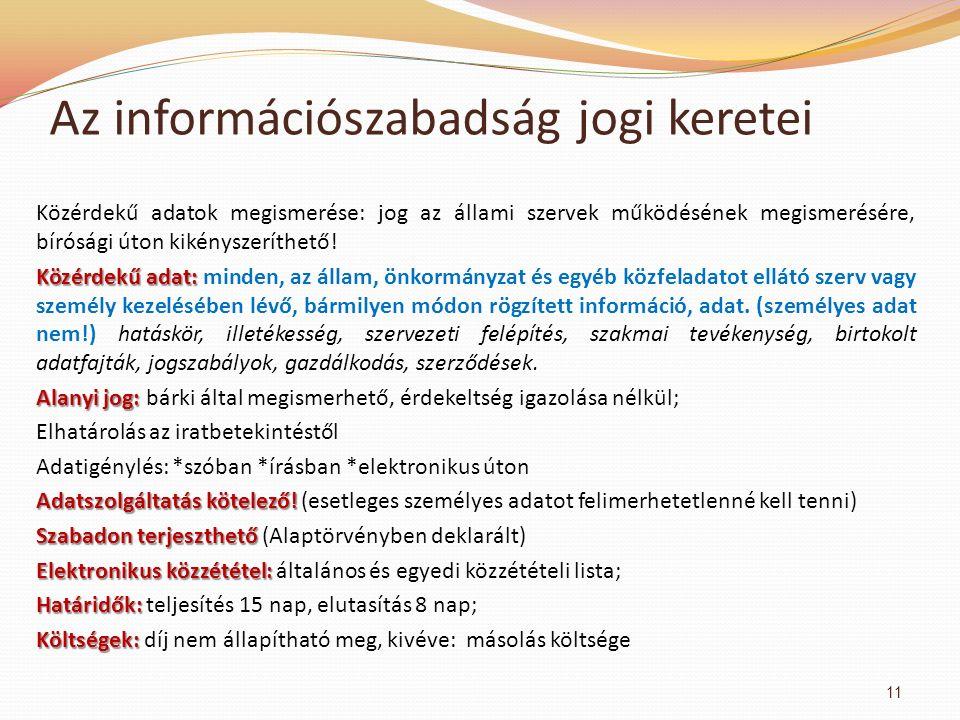 Az információszabadság jogi keretei Közérdekű adatok megismerése: jog az állami szervek működésének megismerésére, bírósági úton kikényszeríthető.
