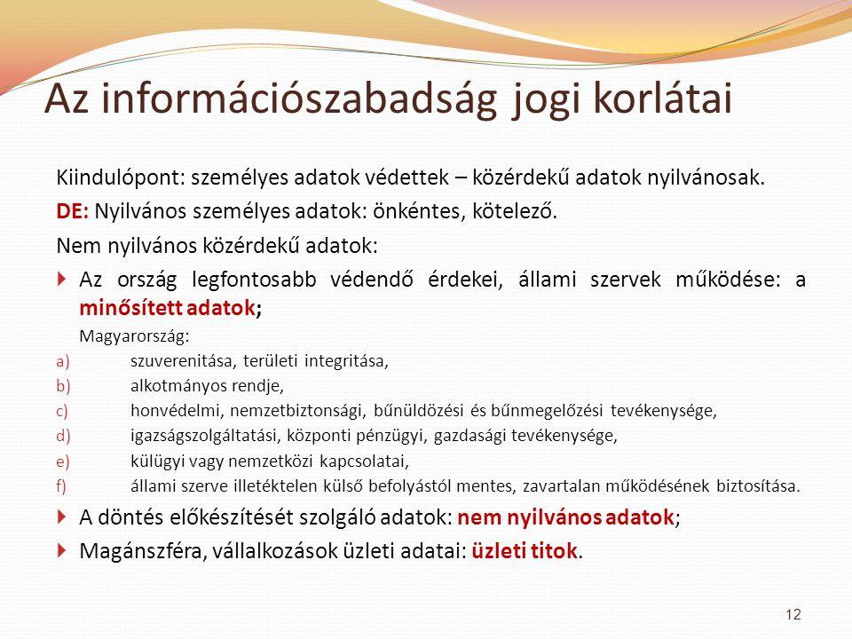 Az információszabadság jogi korlátai Kiindulópont: személyes adatok védettek – közérdekű adatok nyilvánosak.