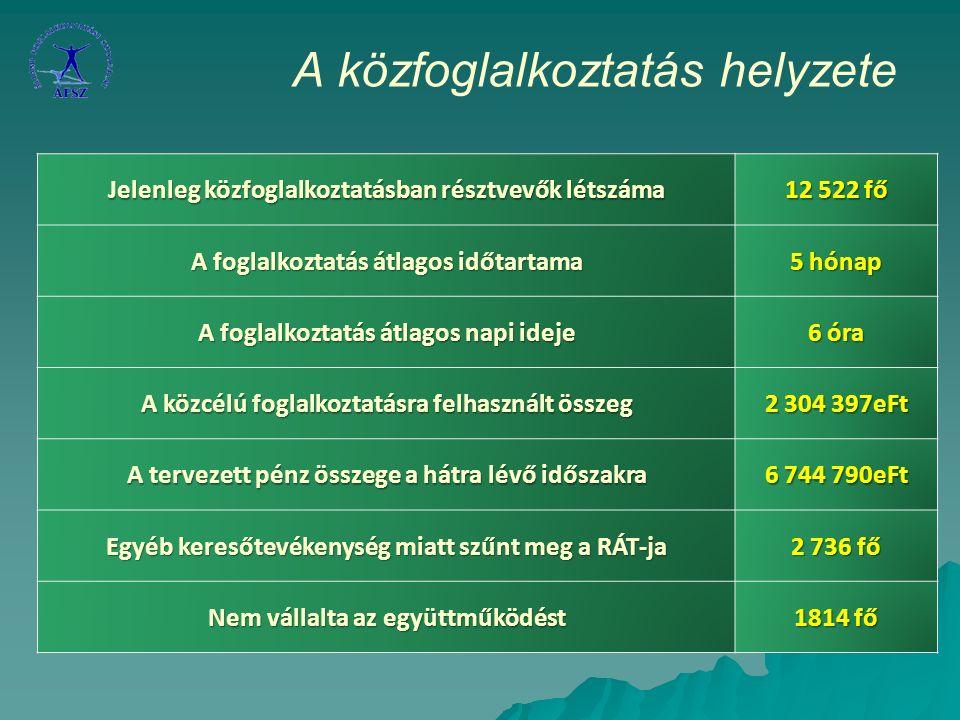 A közfoglalkoztatás helyzete Jelenleg közfoglalkoztatásban résztvevők létszáma 12 522 fő A foglalkoztatás átlagos időtartama 5 hónap A foglalkoztatás átlagos napi ideje 6 óra A közcélú foglalkoztatásra felhasznált összeg 2 304 397eFt A tervezett pénz összege a hátra lévő időszakra 6 744 790eFt Egyéb keresőtevékenység miatt szűnt meg a RÁT-ja 2 736 fő Nem vállalta az együttműködést 1814 fő