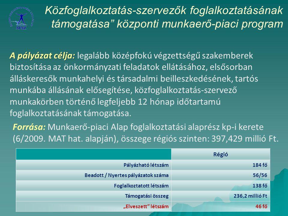 A pályázat célja: A pályázat célja: legalább középfokú végzettségű szakemberek biztosítása az önkormányzati feladatok ellátásához, elsősorban álláskeresők munkahelyi és társadalmi beilleszkedésének, tartós munkába állásának elősegítése, közfoglalkoztatás-szervező munkakörben történő legfeljebb 12 hónap időtartamú foglalkoztatásának támogatása.