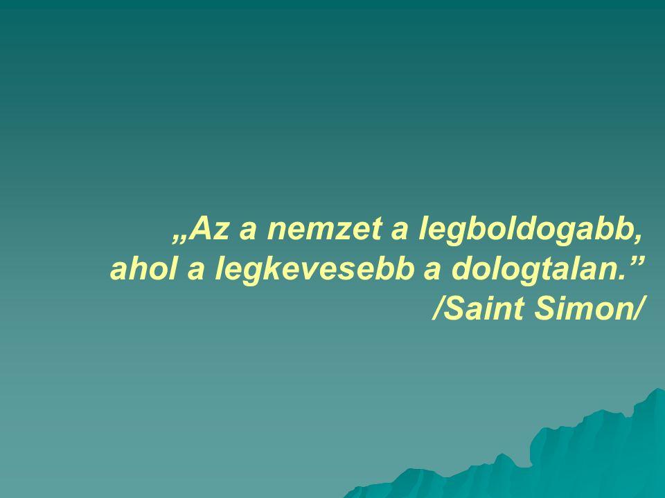 """""""Az a nemzet a legboldogabb, ahol a legkevesebb a dologtalan. /Saint Simon/"""