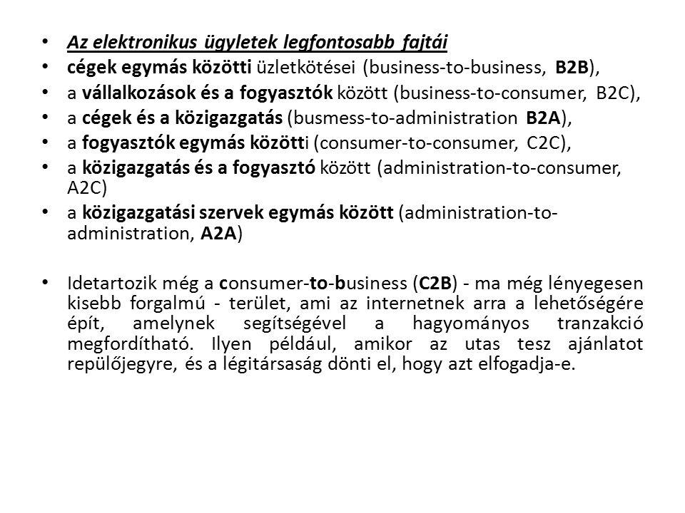Az elektronikus ügyletek legfontosabb fajtái cégek egymás közötti üzletkötései (business-to-business, B2B), a vállalkozások és a fogyasztók között (business-to-consumer, B2C), a cégek és a közigazgatás (busmess-to-administration B2A), a fogyasztók egymás közötti (consumer-to-consumer, C2C), a közigazgatás és a fogyasztó között (administration-to-consumer, A2C) a közigazgatási szervek egymás között (administration-to- administration, A2A) Idetartozik még a consumer-to-business (C2B) - ma még lényegesen kisebb forgalmú - terület, ami az internetnek arra a lehetőségére épít, amelynek segítségével a hagyományos tranzakció megfordítható.