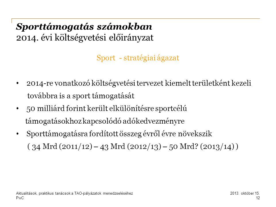 PwC Sporttámogatás számokban 2014. évi költségvetési előirányzat Sport - stratégiai ágazat 2014-re vonatkozó költségvetési tervezet kiemelt területkén