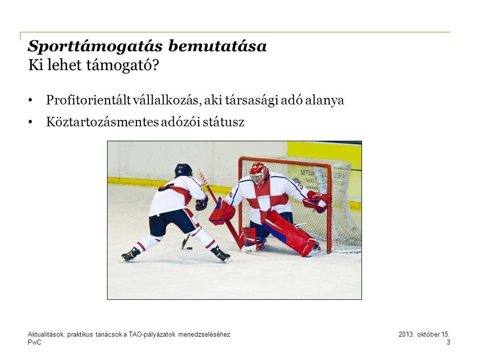 PwC Sporttámogatás bemutatása Ki lehet támogató? Profitorientált vállalkozás, aki társasági adó alanya Köztartozásmentes adózói státusz 3 2013. októbe