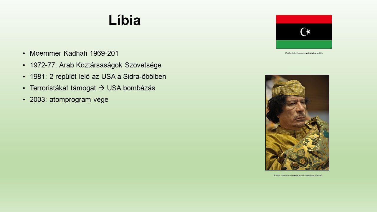 Líbia Moemmer Kadhafi 1969-201 1972-77: Arab Köztársaságok Szövetsége 1981: 2 repülőt lelő az USA a Sidra-öbölben Terroristákat támogat  USA bombázás 2003: atomprogram vége Forrás: http://www.nemzetizaszlok.hu/libia Forrás: https://hu.wikipedia.org/wiki/Moammer_Kadhafi