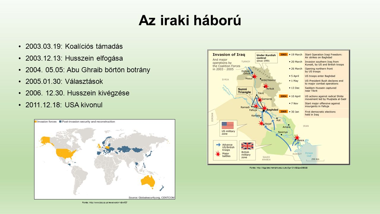 Az iraki háború Forrás: http://globalnews449.tumblr.com/post/130569235053/conflict-map-of-iraq-as-of-october-4-2015 Forrás: http://www.wired.com/2012/02/jieddo-high-tech-bombs/ Forrás: http://english.alarabiya.net/en/News/middle-east/2014/04/26/Death-toll-in-Iraq-rally-attack-rises-to-33.html