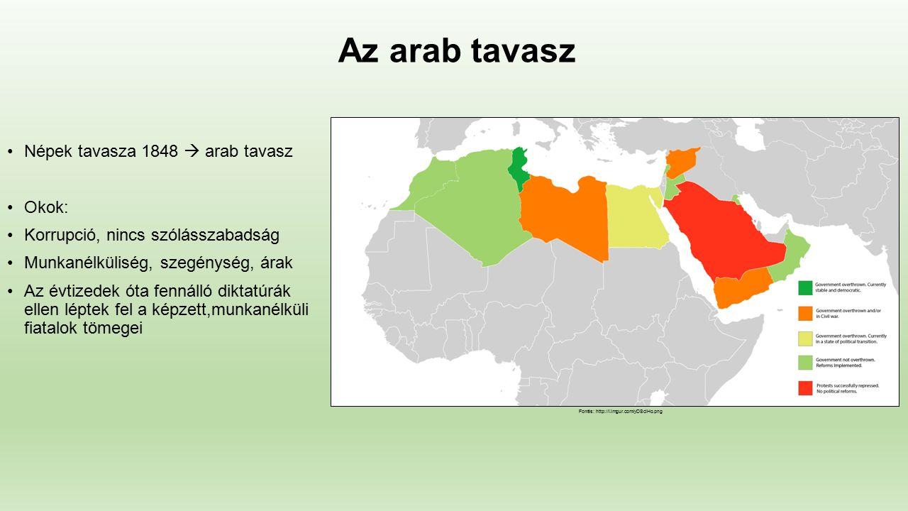 Az arab tavasz Népek tavasza 1848  arab tavasz Okok: Korrupció, nincs szólásszabadság Munkanélküliség, szegénység, árak Az évtizedek óta fennálló diktatúrák ellen léptek fel a képzett,munkanélküli fiatalok tömegei Forrás: http://i.imgur.com/yDScIHo.png