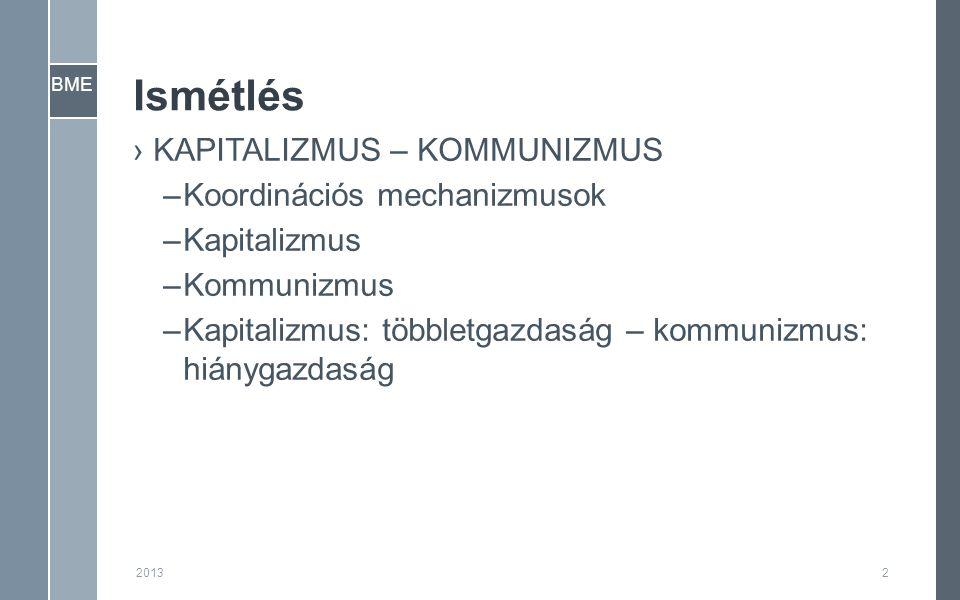 BME Ismétlés ›KAPITALIZMUS – KOMMUNIZMUS –Koordinációs mechanizmusok –Kapitalizmus –Kommunizmus –Kapitalizmus: többletgazdaság – kommunizmus: hiánygazdaság 20132