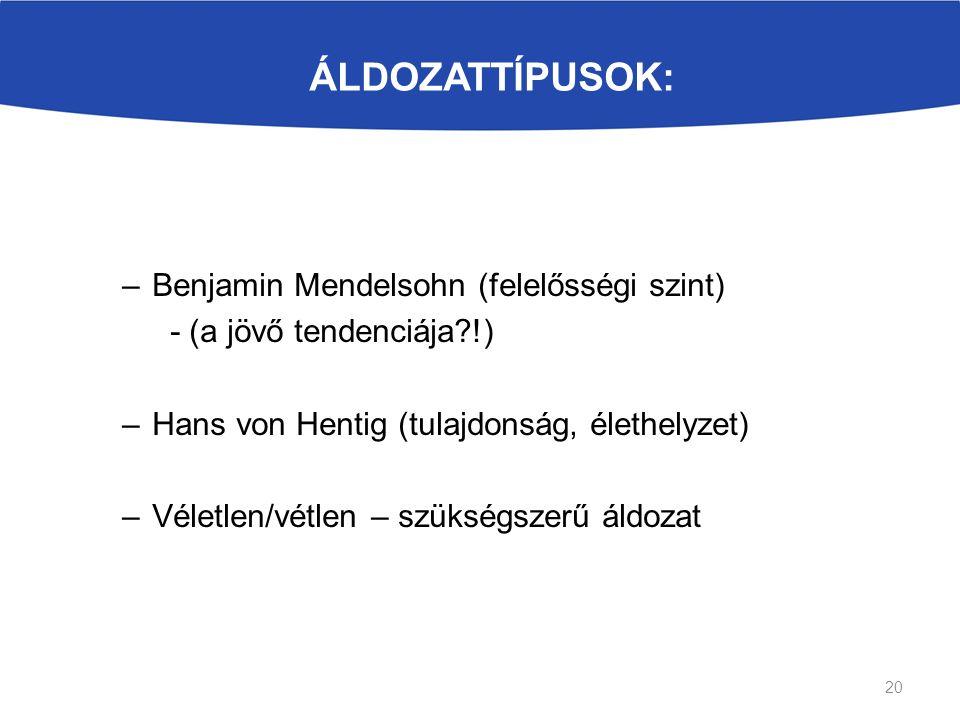 ÁLDOZATTÍPUSOK: –Benjamin Mendelsohn (felelősségi szint) - (a jövő tendenciája !) –Hans von Hentig (tulajdonság, élethelyzet) –Véletlen/vétlen – szükségszerű áldozat 20