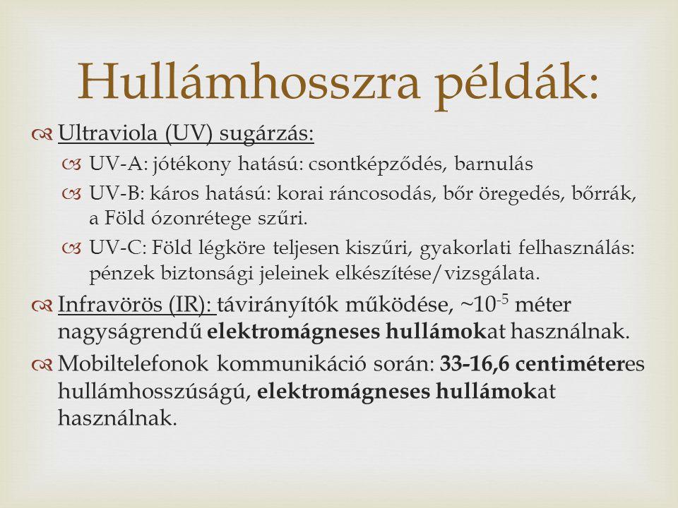  Ultraviola (UV) sugárzás:  UV-A: jótékony hatású: csontképződés, barnulás  UV-B: káros hatású: korai ráncosodás, bőr öregedés, bőrrák, a Föld ózonrétege szűri.