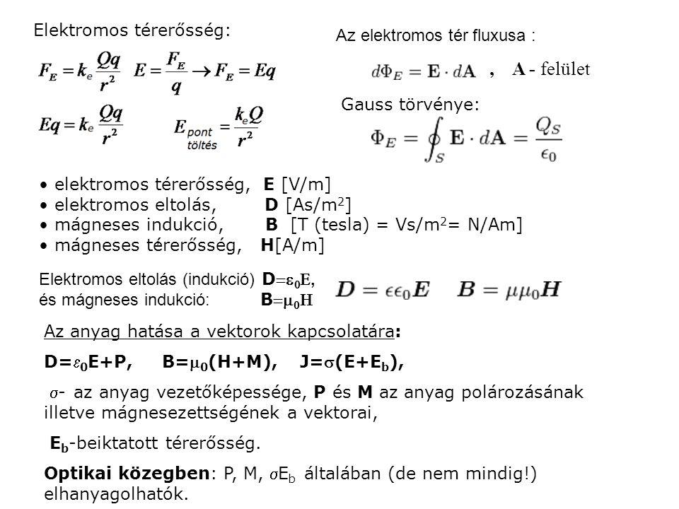 Elektromos térerősség: Az elektromos tér fluxusa :, A - felület Gauss törvénye: Elektromos eltolás (indukció) D  , és mágneses indukció: B   , elektromos térerősség, E [V/m] elektromos eltolás, D [As/m 2 ] mágneses indukció, B [T (tesla) = Vs/m 2 = N/Am] mágneses térerősség, H[A/m] Az anyag hatása a vektorok kapcsolatára: D= 0 E+P, B= 0 (H+M), J=(E+E b ), - az anyag vezetőképessége, P és M az anyag polározásának illetve mágnesezettségének a vektorai, E b -beiktatott térerősség.