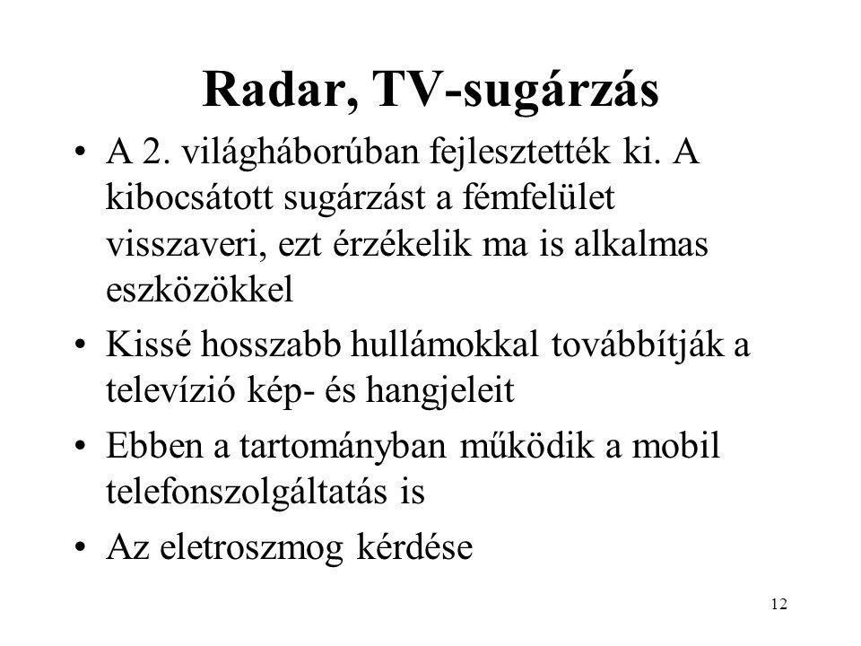 12 Radar, TV-sugárzás A 2. világháborúban fejlesztették ki.