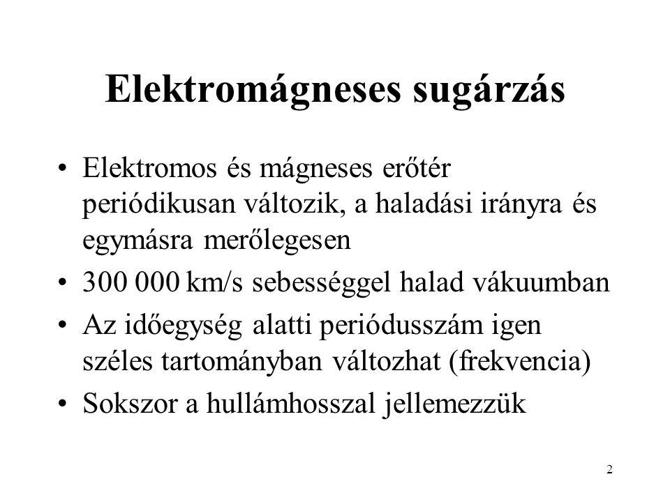 2 Elektromágneses sugárzás Elektromos és mágneses erőtér periódikusan változik, a haladási irányra és egymásra merőlegesen 300 000 km/s sebességgel halad vákuumban Az időegység alatti periódusszám igen széles tartományban változhat (frekvencia) Sokszor a hullámhosszal jellemezzük