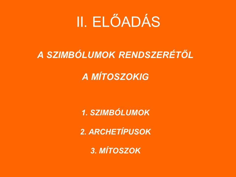 II. ELŐADÁS A SZIMBÓLUMOK RENDSZERÉTŐL A MÍTOSZOKIG 1. SZIMBÓLUMOK 2. ARCHETÍPUSOK 3. MÍTOSZOK