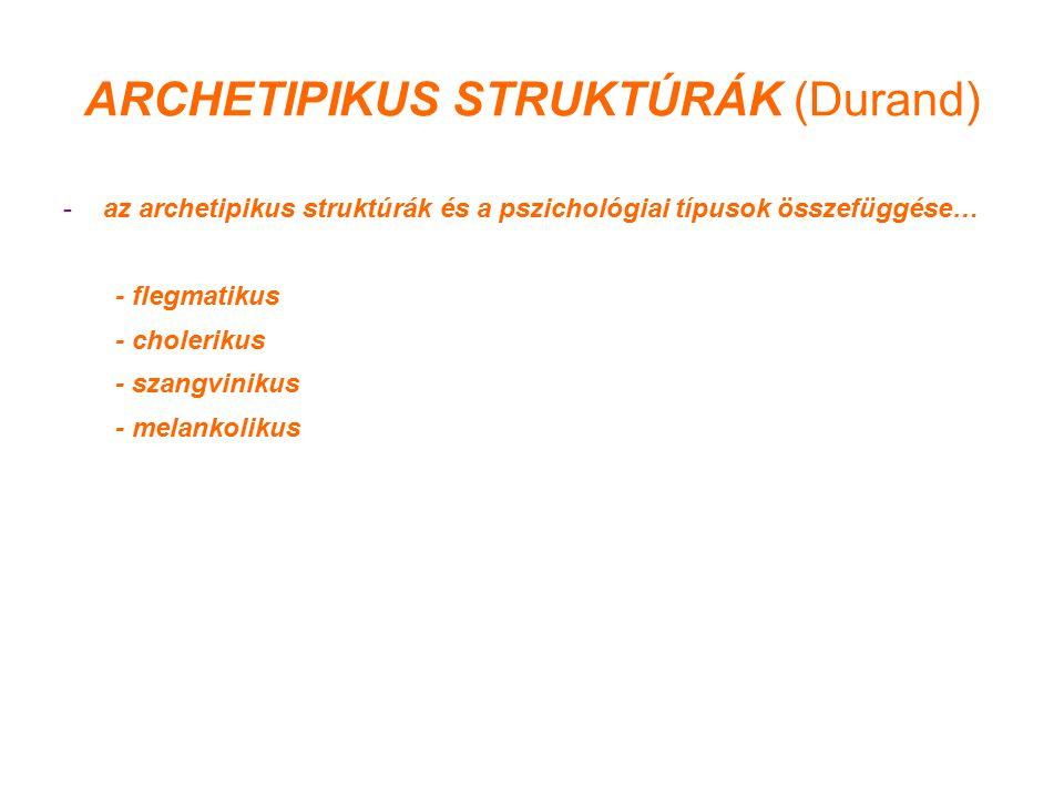 ARCHETIPIKUS STRUKTÚRÁK (Durand) -az archetipikus struktúrák és a pszichológiai típusok összefüggése… - flegmatikus - cholerikus - szangvinikus - melankolikus