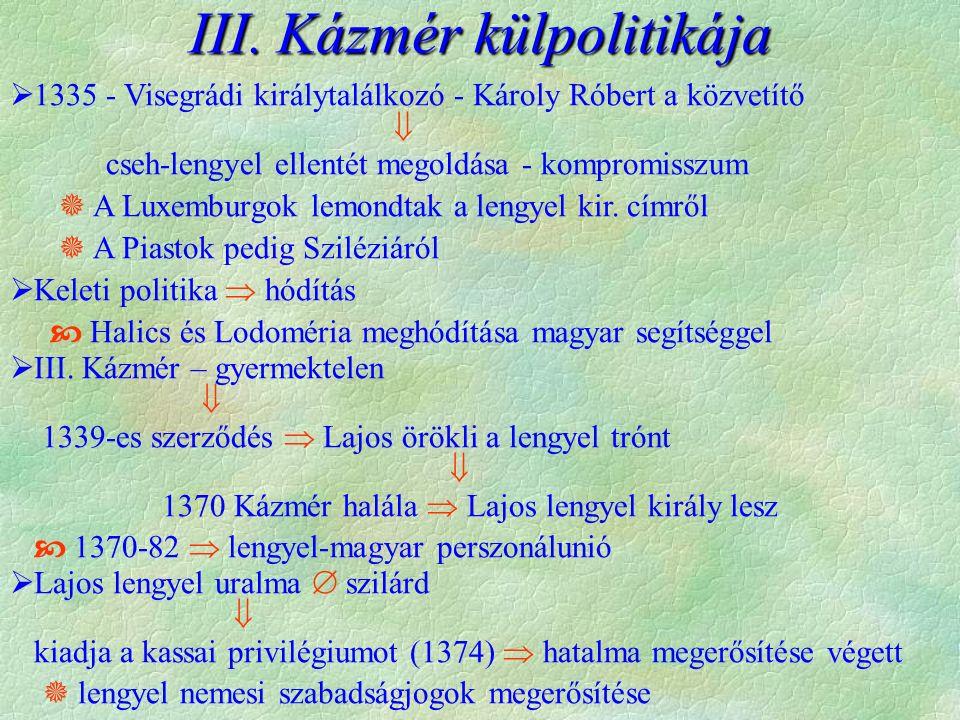 III. Kázmér külpolitikája  1335 - Visegrádi királytalálkozó - Károly Róbert a közvetítő  cseh-lengyel ellentét megoldása - kompromisszum  A Luxembu