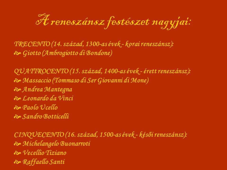 A reneszánsz festészet nagyjai: TRECENTO (14. század, 1300-as évek - korai reneszánsz):  Giotto (Ambrogiotto di Bondone) QUATTROCENTO (15. század, 14