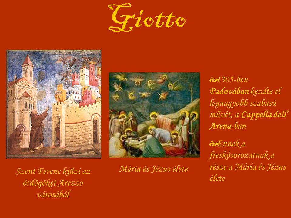Giotto Szent Ferenc kiűzi az ördögöket Arezzo városából Mária és Jézus élete  1305-ben Padovában kezdte el legnagyobb szabású művét, a Cappella dell' Arena-ban  Ennek a freskósorozatnak a része a Mária és Jézus élete