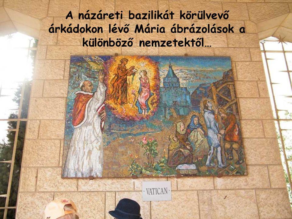 A názáreti bazilikát körülvevő árkádokon lévő Mária ábrázolások a különböző nemzetektől…