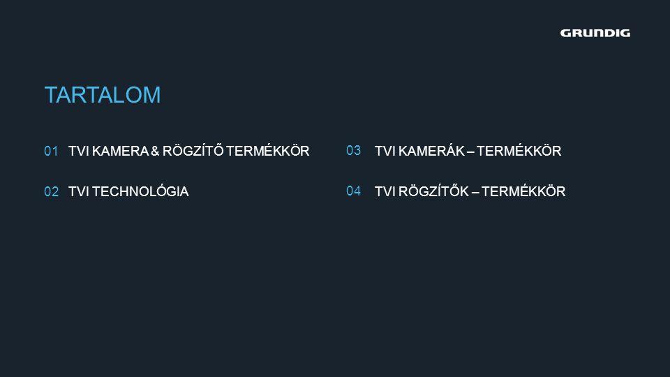 TARTALOM 01 02 03 04 TVI KAMERA & RÖGZÍTŐ TERMÉKKÖR TVI TECHNOLÓGIA TVI KAMERÁK – TERMÉKKÖR TVI RÖGZÍTŐK – TERMÉKKÖR
