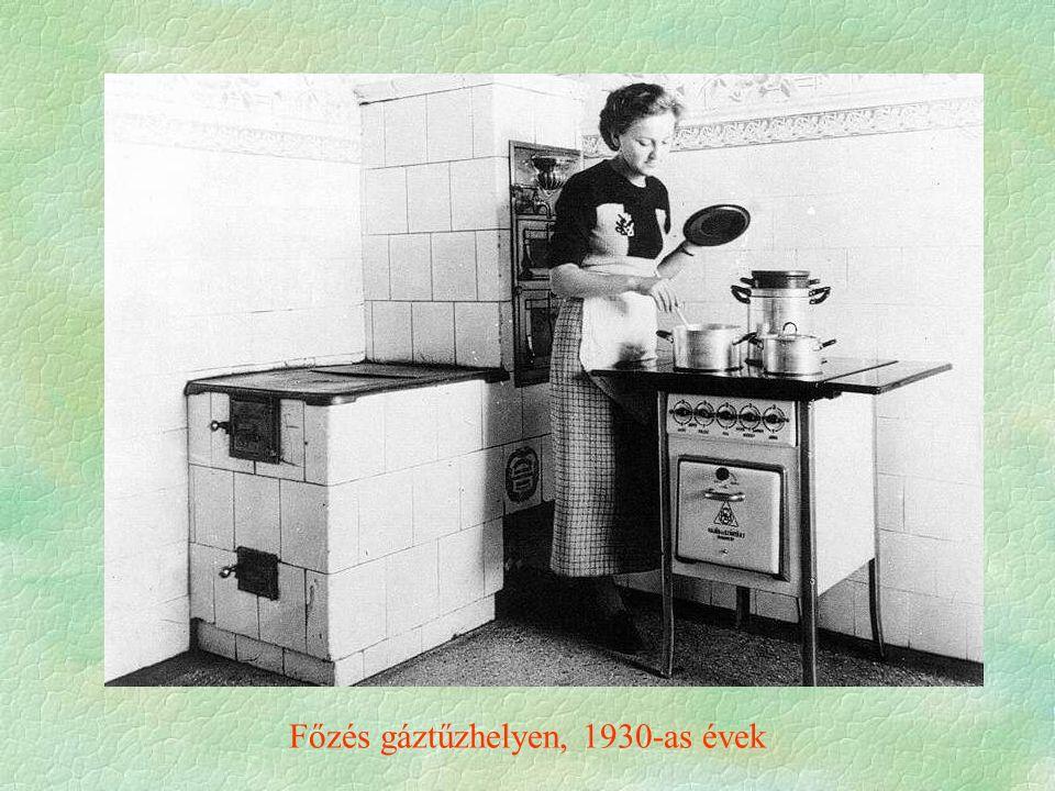 Főzés gáztűzhelyen, 1930-as évek