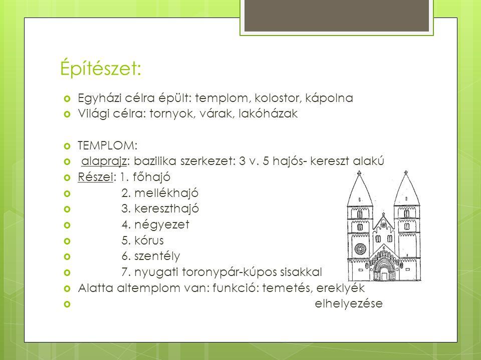 Építészet:  Egyházi célra épült: templom, kolostor, kápolna  Világi célra: tornyok, várak, lakóházak  TEMPLOM:  alaprajz: bazilika szerkezet: 3 v.
