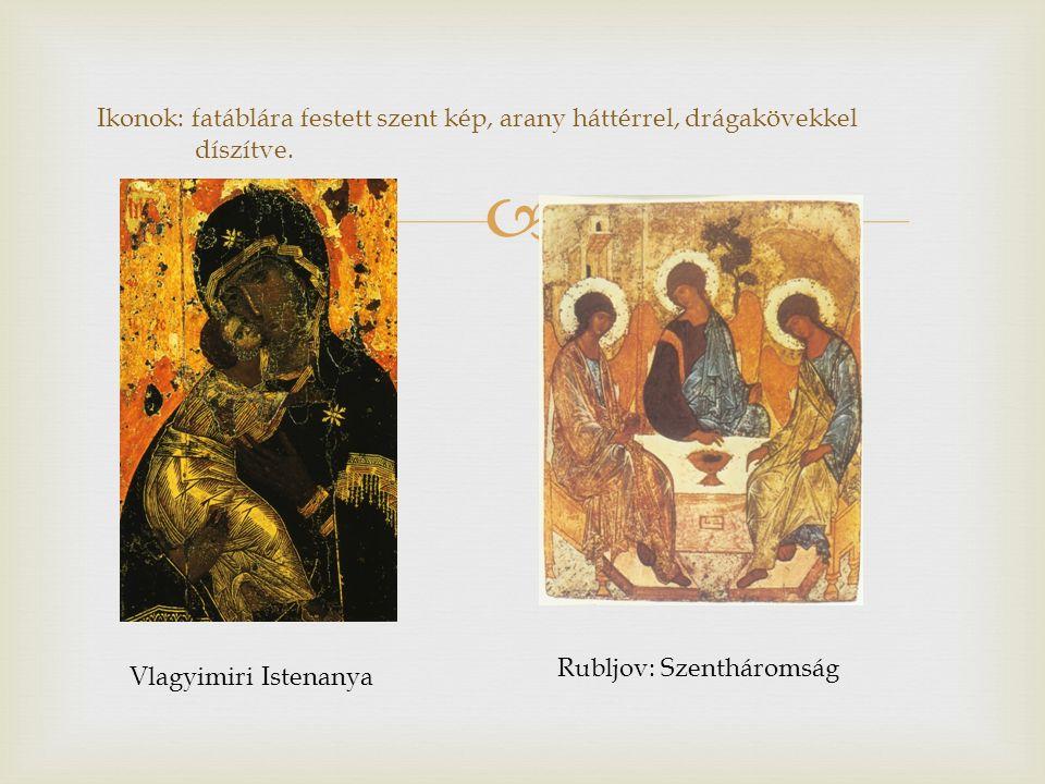  Ikonok: fatáblára festett szent kép, arany háttérrel, drágakövekkel díszítve. Vlagyimiri Istenanya Rubljov: Szentháromság