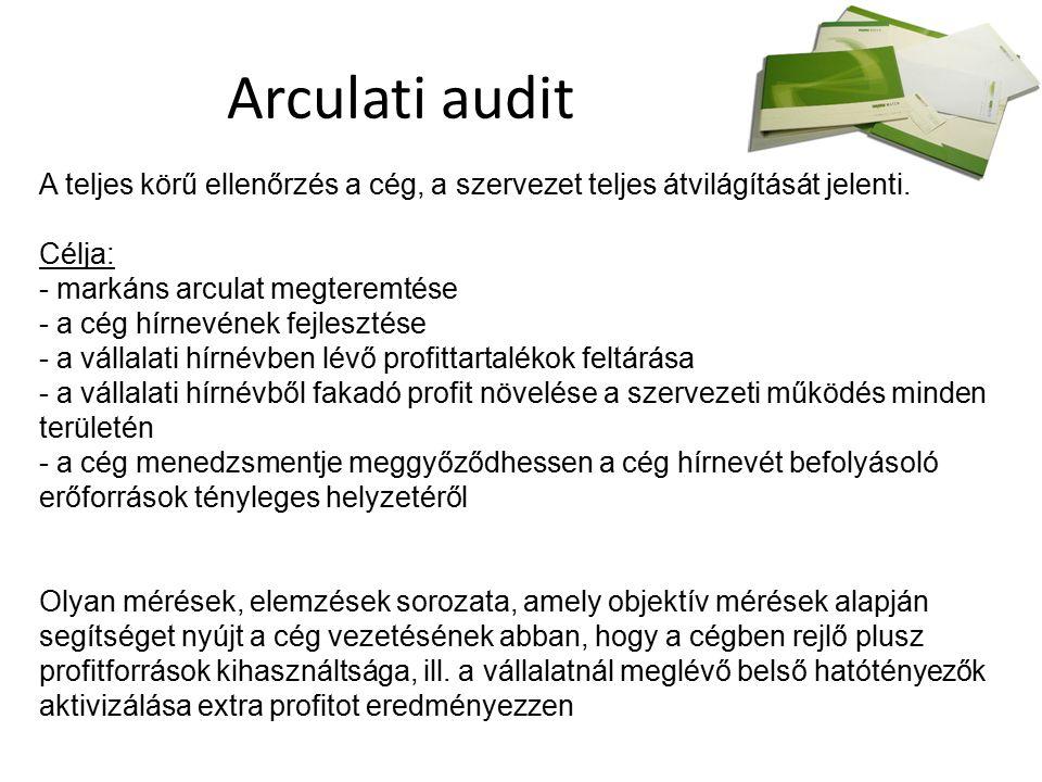 Arculati audit A teljes körű ellenőrzés a cég, a szervezet teljes átvilágítását jelenti.