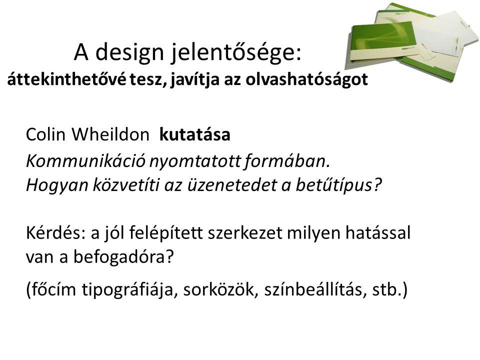 A design jelentősége: áttekinthetővé tesz, javítja az olvashatóságot Colin Wheildon kutatása Kommunikáció nyomtatott formában.