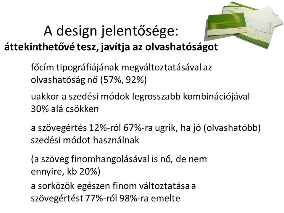 A design jelentősége: áttekinthetővé tesz, javítja az olvashatóságot főcím tipográfiájának megváltoztatásával az olvashatóság nő (57%, 92%) uakkor a szedési módok legrosszabb kombinációjával 30% alá csökken a szövegértés 12%-ról 67%-ra ugrik, ha jó (olvashatóbb) szedési módot használnak (a szöveg finomhangolásával is nő, de nem ennyire, kb 20%) a sorközök egészen finom változtatása a szövegértést 77%-ról 98%-ra emelte