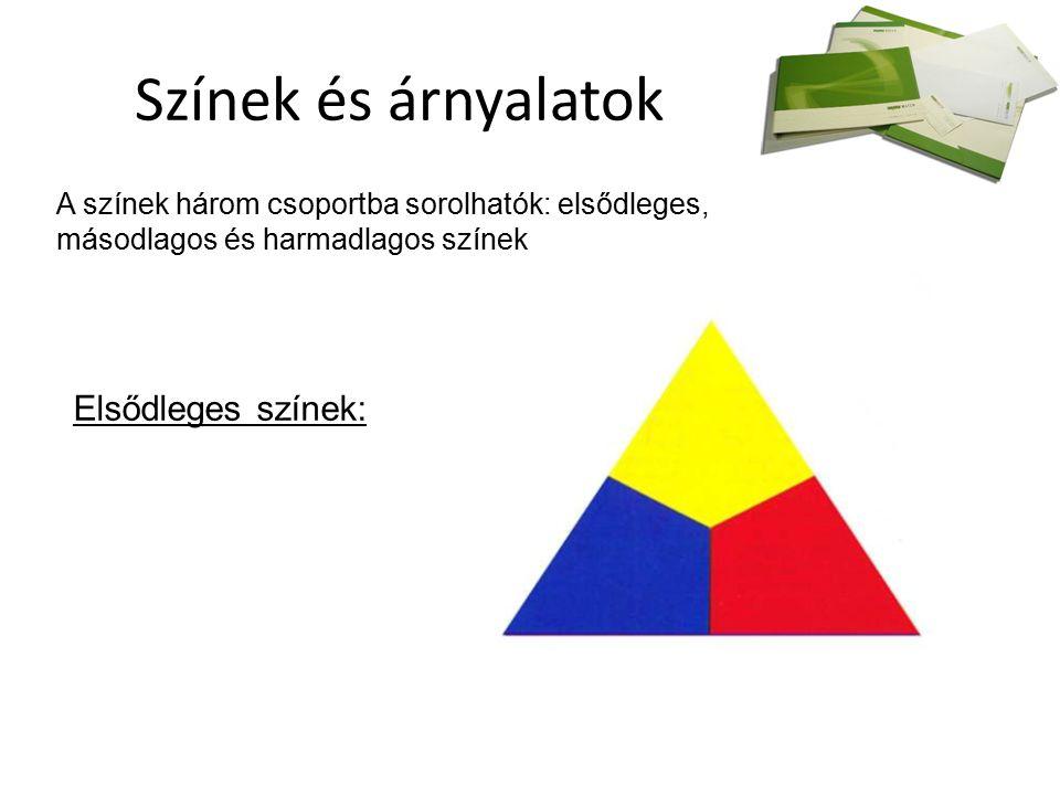 Színek és árnyalatok A színek három csoportba sorolhatók: elsődleges, másodlagos és harmadlagos színek Elsődleges színek: