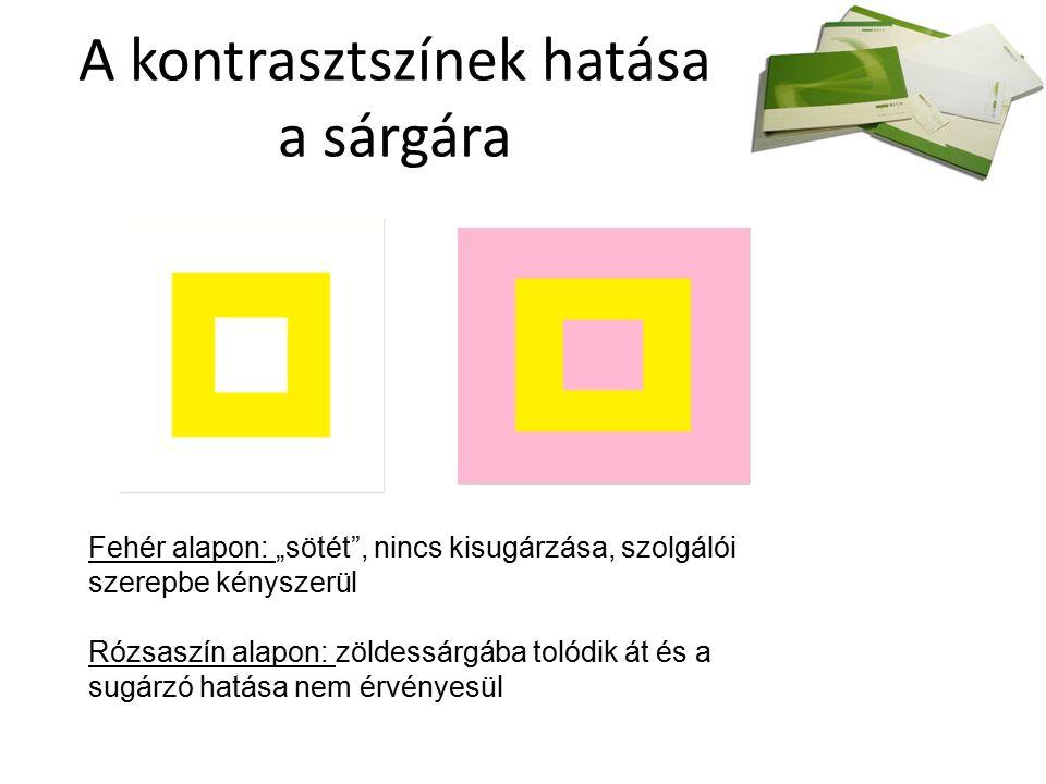 """A kontrasztszínek hatása a sárgára Fehér alapon: """"sötét , nincs kisugárzása, szolgálói szerepbe kényszerül Rózsaszín alapon: zöldessárgába tolódik át és a sugárzó hatása nem érvényesül"""