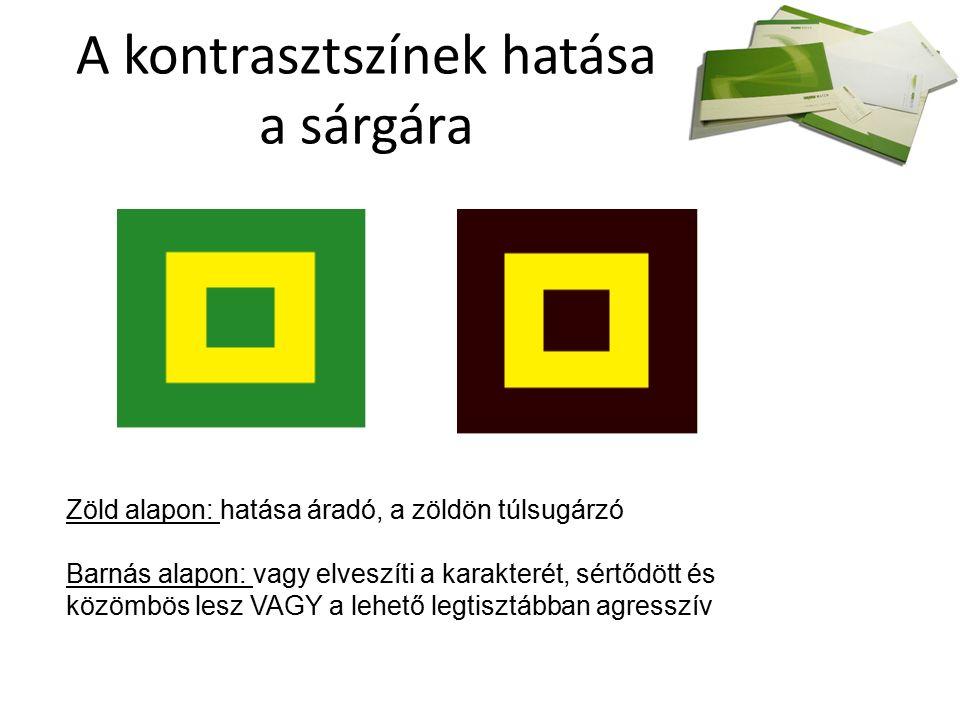 A kontrasztszínek hatása a sárgára Zöld alapon: hatása áradó, a zöldön túlsugárzó Barnás alapon: vagy elveszíti a karakterét, sértődött és közömbös lesz VAGY a lehető legtisztábban agresszív