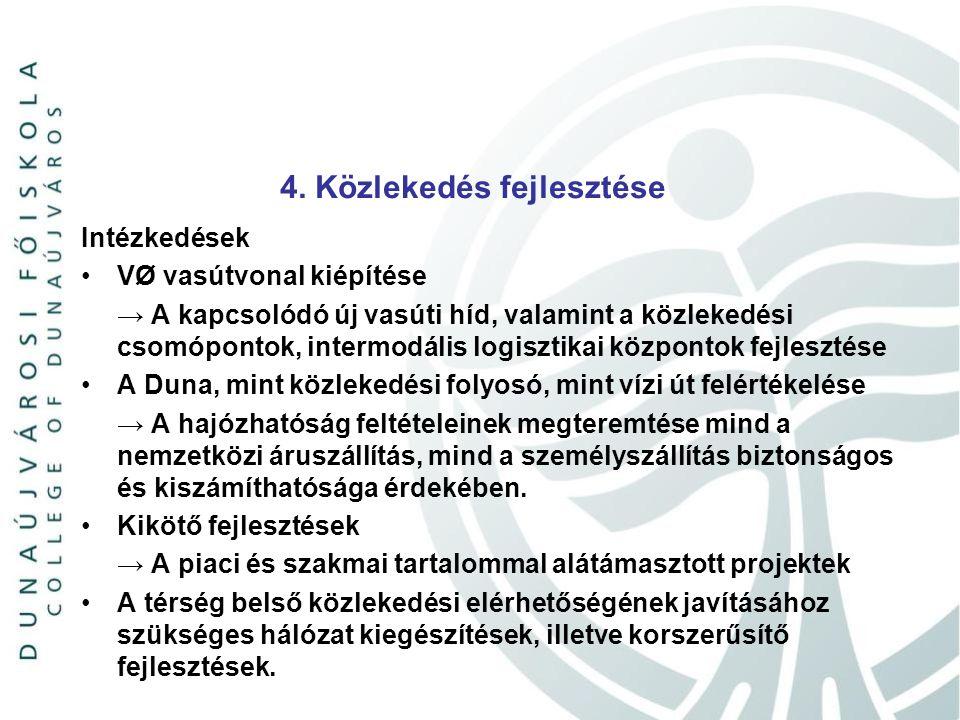4. Közlekedés fejlesztése Intézkedések VØ vasútvonal kiépítése → A kapcsolódó új vasúti híd, valamint a közlekedési csomópontok, intermodális logiszti