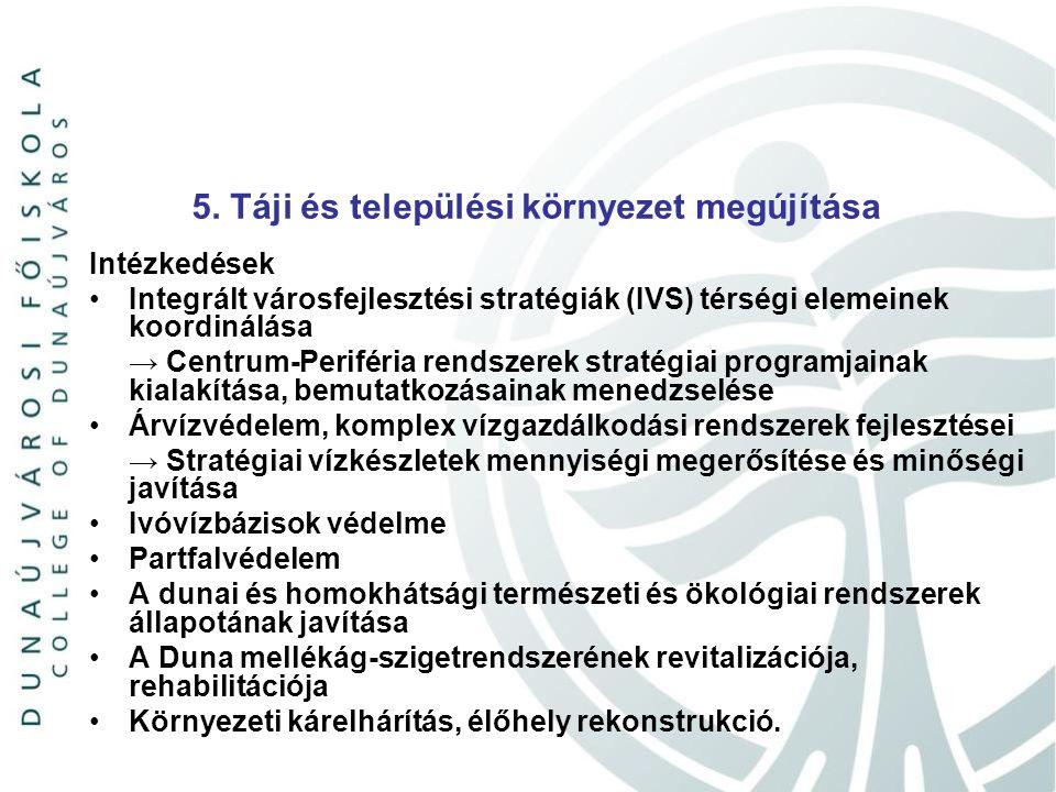 5. Táji és települési környezet megújítása Intézkedések Integrált városfejlesztési stratégiák (IVS) térségi elemeinek koordinálása → Centrum-Periféria