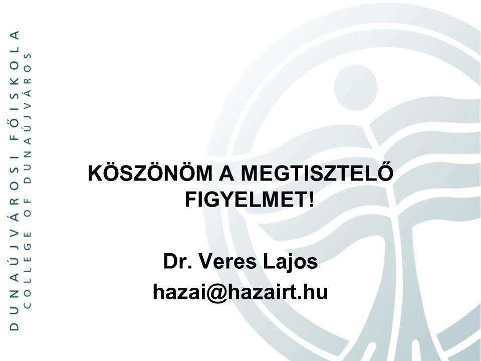 KÖSZÖNÖM A MEGTISZTELŐ FIGYELMET! Dr. Veres Lajos hazai@hazairt.hu