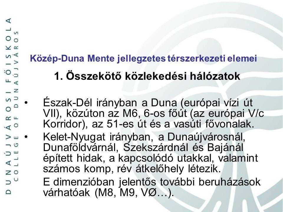 Közép-Duna Mente jellegzetes térszerkezeti elemei 1. Összekötő közlekedési hálózatok Észak-Dél irányban a Duna (európai vízi út VII), közúton az M6, 6