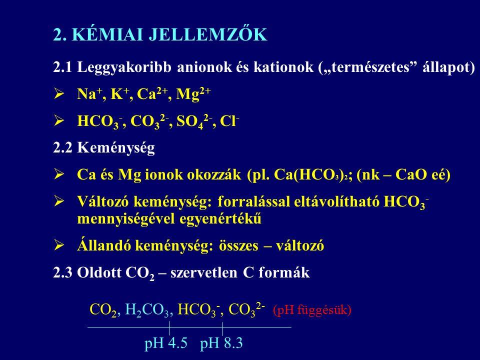 """2.1 Leggyakoribb anionok és kationok (""""természetes állapot)  Na +, K +, Ca 2+, Mg 2+  HCO 3 -, CO 3 2-, SO 4 2-, Cl - 2.2 Keménység  Ca és Mg ionok okozzák (pl."""