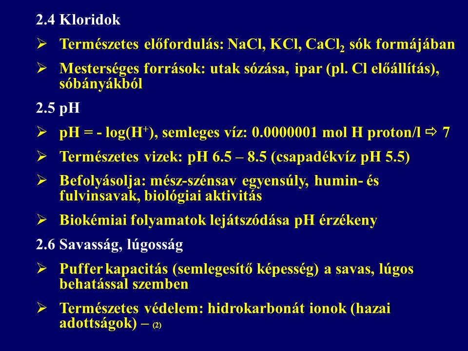 2.4 Kloridok  Természetes előfordulás: NaCl, KCl, CaCl 2 sók formájában  Mesterséges források: utak sózása, ipar (pl.