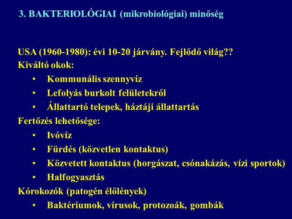 Kiváltó okok: Kommunális szennyvíz Lefolyás burkolt felületekről Állattartó telepek, háztáji állattartás Fertőzés lehetősége: Ivóvíz Fürdés (közvetlen kontaktus) Közvetett kontaktus (horgászat, csónakázás, vízi sportok) Halfogyasztás Kórokozók (patogén élőlények) Baktériumok, vírusok, protozoák, gombák 3.