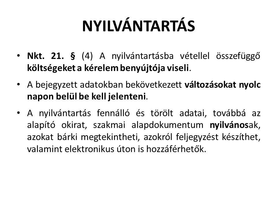 NYILVÁNTARTÁS Nkt. 21.