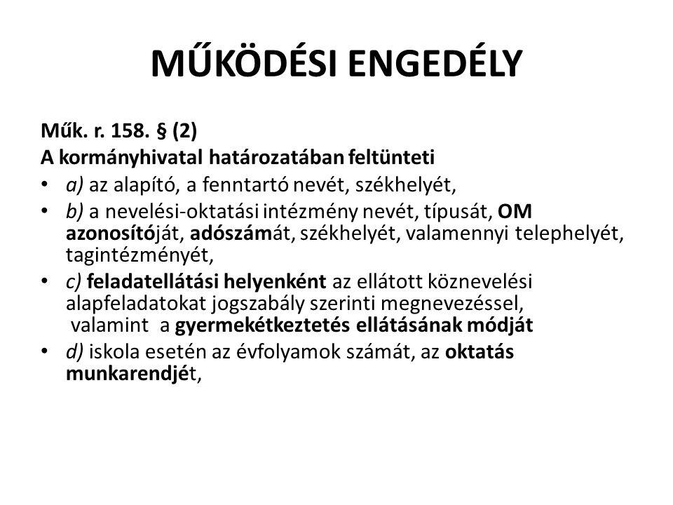 MŰKÖDÉSI ENGEDÉLY Műk. r. 158.