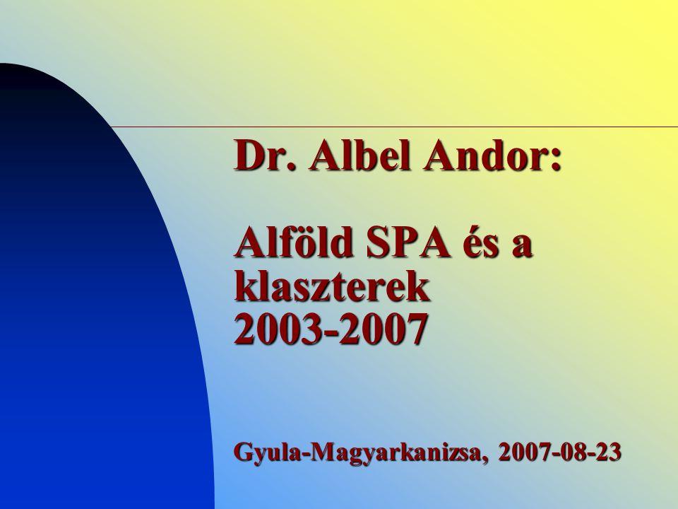 Dr. Albel Andor: Alföld SPA és a klaszterek 2003-2007 Gyula-Magyarkanizsa, 2007-08-23