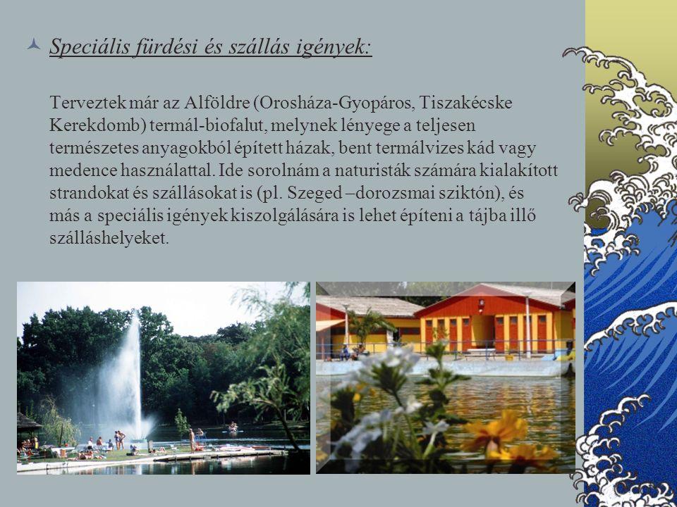 Speciális fürdési és szállás igények: Terveztek már az Alföldre (Orosháza-Gyopáros, Tiszakécske Kerekdomb) termál-biofalut, melynek lényege a teljesen