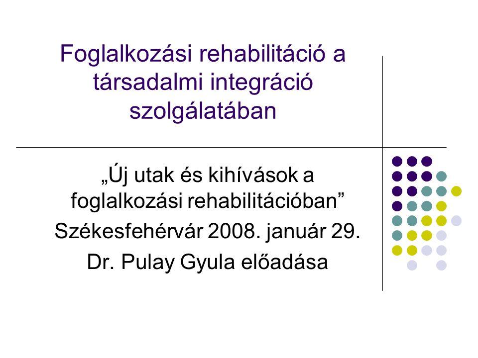 Az új szabályozásnak a társadalmi integrációt leginkább szolgáló elemei A rehabilitáció előtérbe állítása a rokkantosítással szemben A megmaradt képességek hasznosítása A rehabilitációt komplex folyamatként kezeli Foglalkoztatásközpontú Épít a civil szervezetek aktív részvételére Munkáltatók növekvő szerepvállalását szorgalmazza
