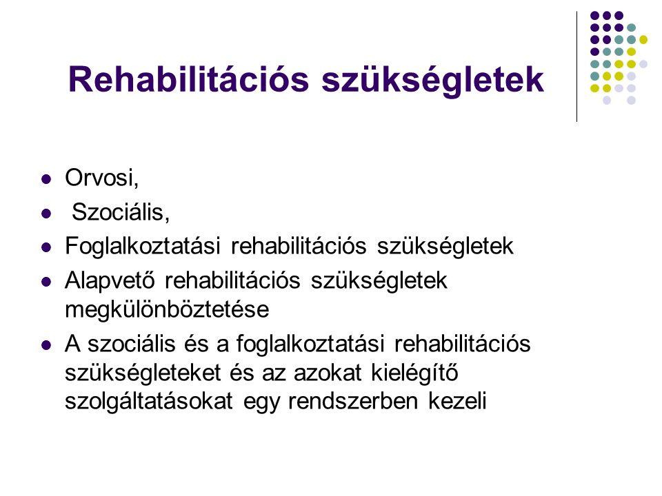 Rehabilitációs szükségletek Orvosi, Szociális, Foglalkoztatási rehabilitációs szükségletek Alapvető rehabilitációs szükségletek megkülönböztetése A sz