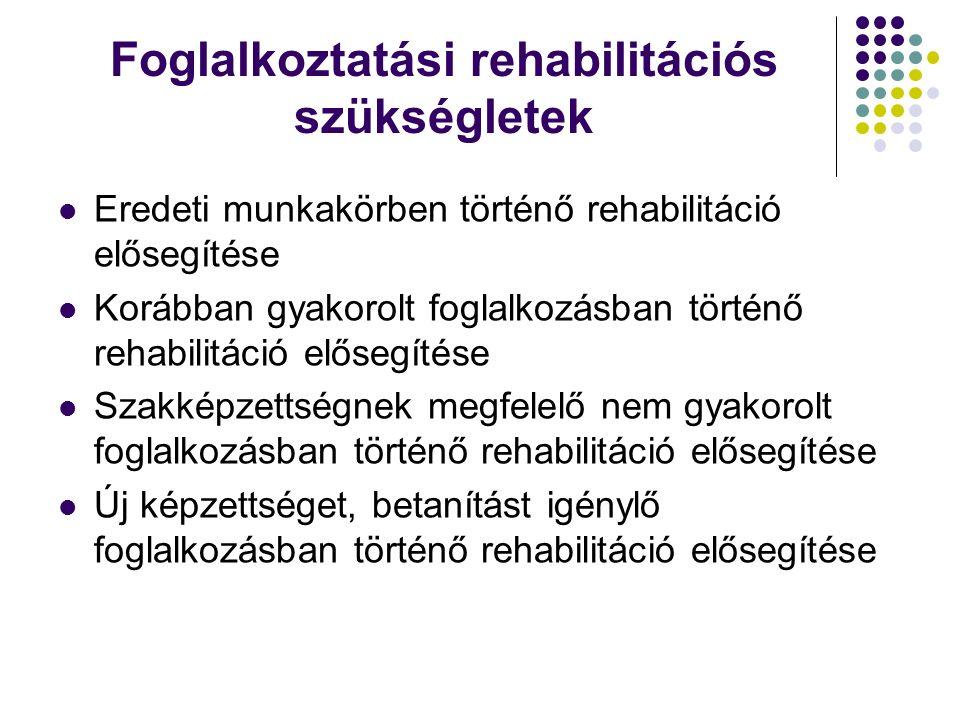 Foglalkoztatási rehabilitációs szükségletek Eredeti munkakörben történő rehabilitáció elősegítése Korábban gyakorolt foglalkozásban történő rehabilitáció elősegítése Szakképzettségnek megfelelő nem gyakorolt foglalkozásban történő rehabilitáció elősegítése Új képzettséget, betanítást igénylő foglalkozásban történő rehabilitáció elősegítése