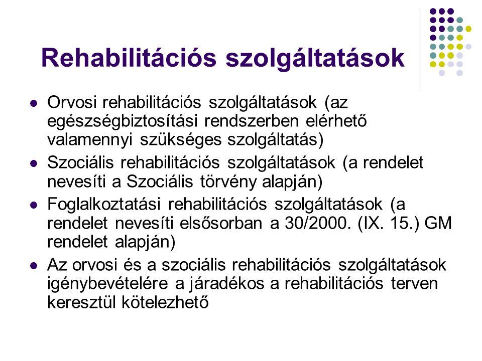 Rehabilitációs szolgáltatások Orvosi rehabilitációs szolgáltatások (az egészségbiztosítási rendszerben elérhető valamennyi szükséges szolgáltatás) Szo